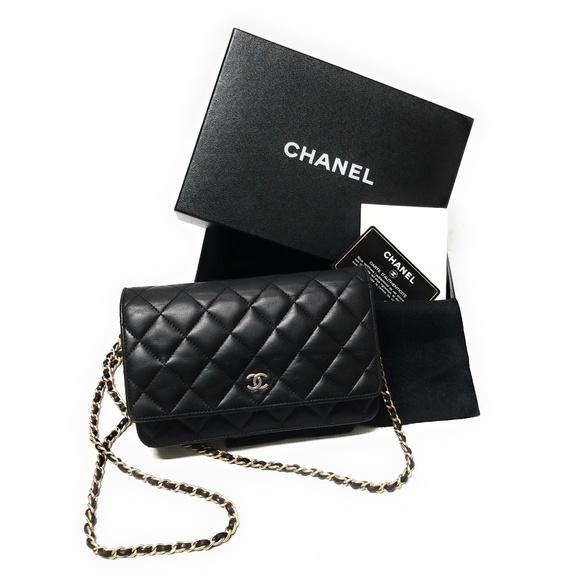 078da831 CHANEL Black Lambskin Leather Wallet On Chain Gold